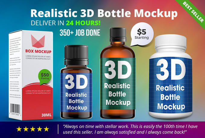 put your pills label on 3d realistic bottle