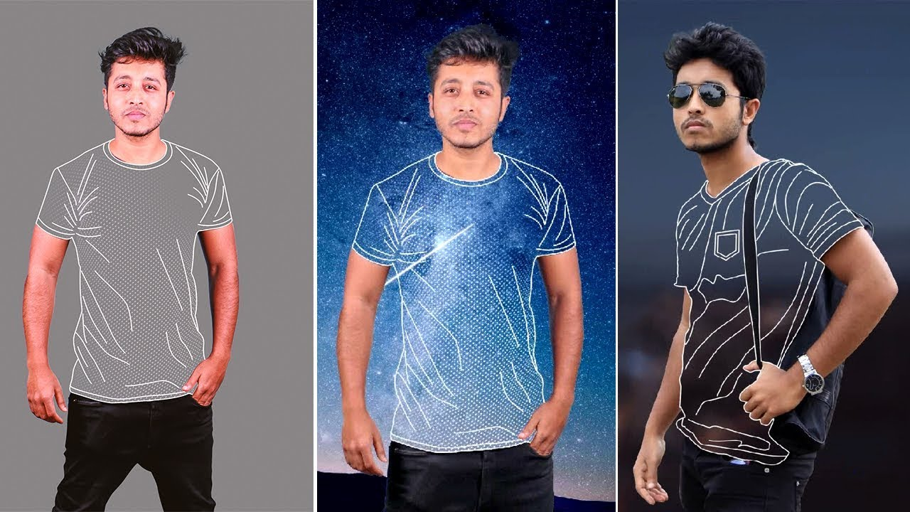 How to Create LINE ART  Photoshop Tutorial Clothless Effect