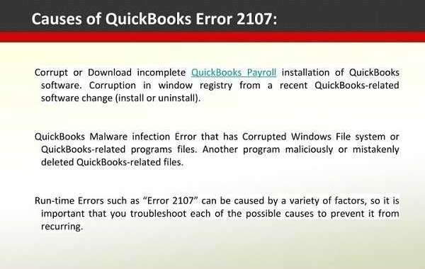 How to Fix QuickBooks Payroll Error Code 2107?