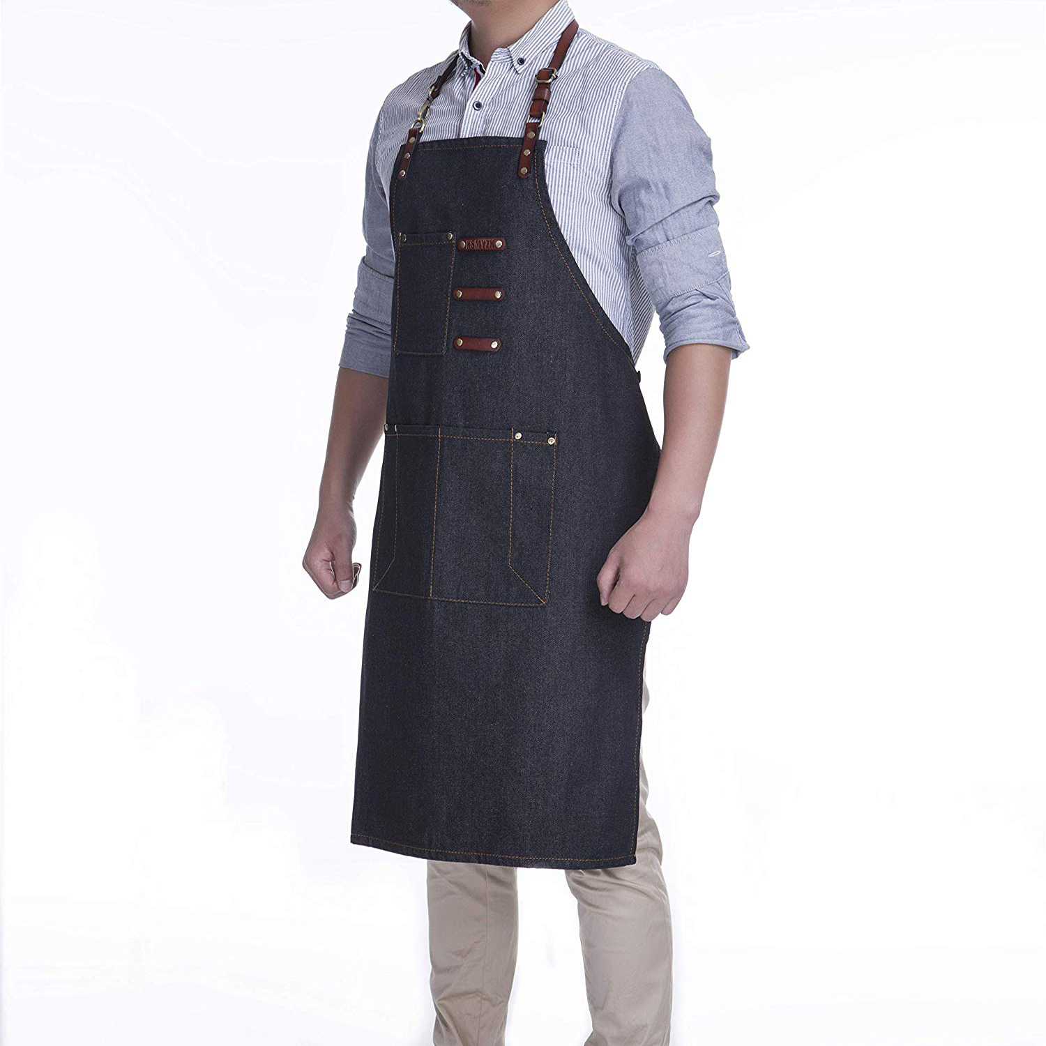Denim Apron / Leather straps adjustable belt, suitable for a variety of body