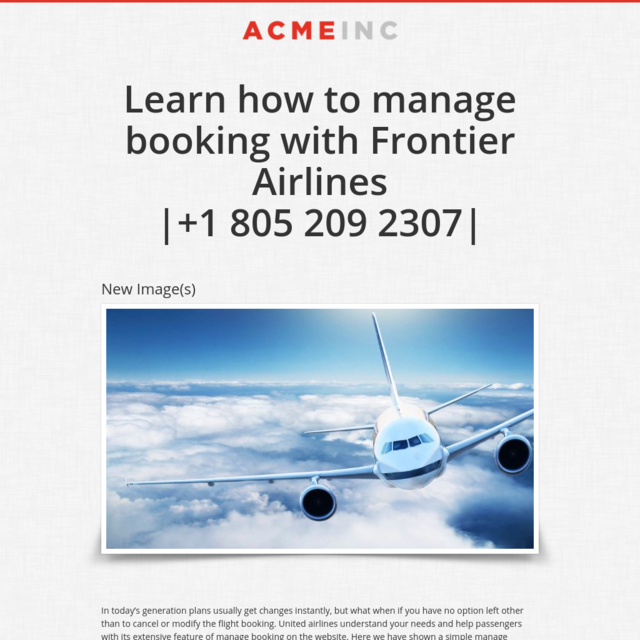 Learn how to manage booking with Frontier Airlines|+1 805 209 2307|