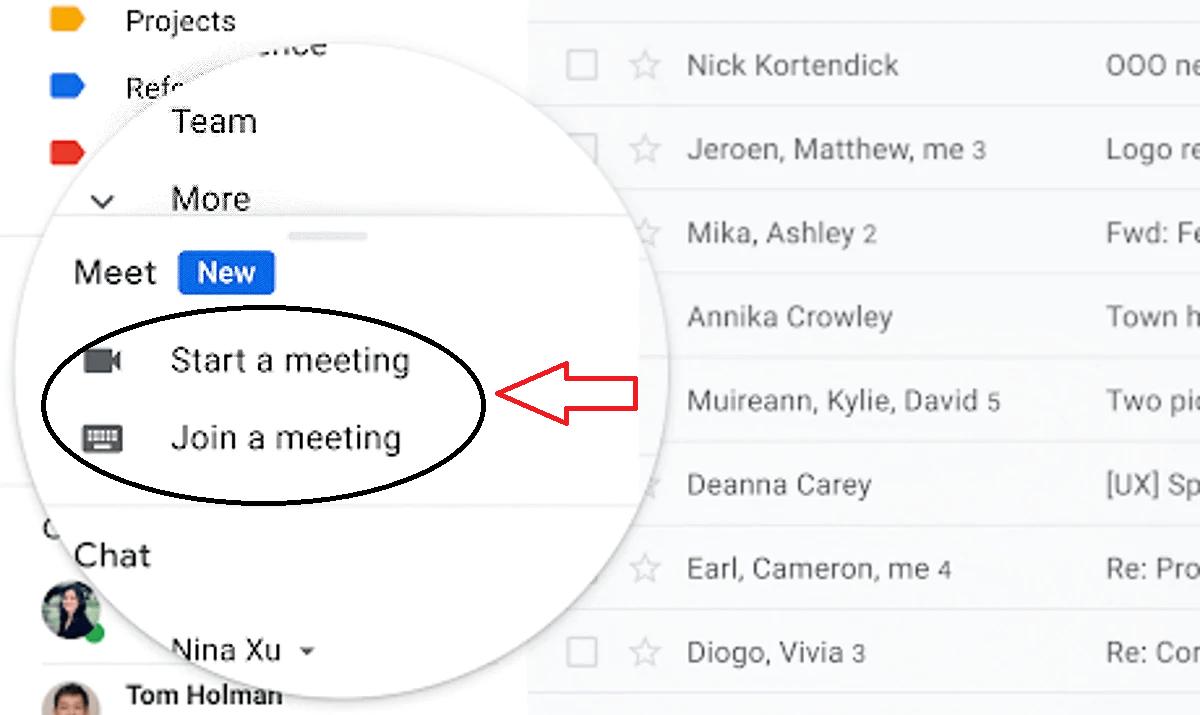 How do I start a meeting on Google/Gmail meet?