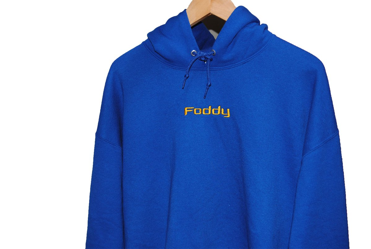 Royal Blue Hoodie with Gold Text Online Available at Foddy – Foddy317