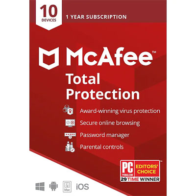 Buy McAfee Total Protection Antivirus 10 Devices - SoftBest2Buy
